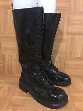 VTG�� Dr. Martens Platform Combat Boots 20 Eye Black Patent 9730 UK 8 L 10 M 8.5