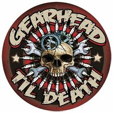 Lethal Threat Gearhead SKULL CANDELA wrenches Retrò SIGN IN LAMIERA SCUDO SCUDO