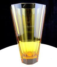 "MOSER ART GLASS BOHEMIAN TEN PANEL CUT HEAVY CRYSTAL CITRINE YELLOW 6 1/4"" VASE"