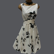 Zara Marfil Negro 50's Bubble Estampado Floral Prom Fiesta Cocktail Dress medio Uk 10