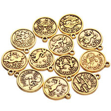 60x Assorted Zodiac Signs Carved Vintage Golden Round Alloy Pendants Findings D