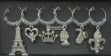 6 New Wine Glass Charms in Pewter with Diamontes French Provincial Paris Themed