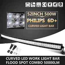 6D + PHILIPS 52INCH 500W CURVED LED LIGHT BAR SPOT FLOOD OFFROAD TRUCK CAR 50''
