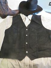Mens Brown or Black - XL Genuine Leather Vest, Adj Back