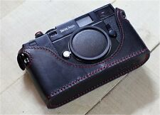 Leather Zeiss Ikon SW / ZM Black with Red Stitching Half Case - BRAND NEW