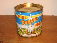VINTAGE CANADIAN DOYON HONEY TIN CAN 4 LBS RARE WITH ROCKET