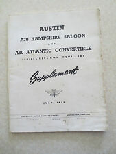 Original 1953 Austin A70 Hampshire & A90 Atlantic supplement information booklet