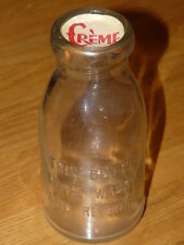 Vtg 16 oz Cream - Milk Bottle - Embossed THIS BOTTLE TO BE WASHED AND RETURNED