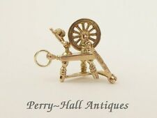 Vintage 9ct Gold Spinning Wheel Charm Fully Hallmarked London 1957