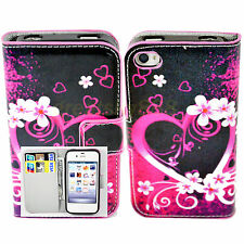 Pretty Heart Design Stand PU Leather Wallet Cover Case For Apple iPhone 4 4S 4G