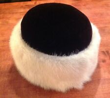 White Mink & Black Hat Miss Alice Exclusive For Lord And Taylor Real Fur W/Combs