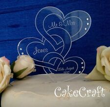 Engraved Heart Acrylic Personalised Wedding cake toppers decorations swarovski