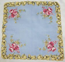 Vtg Hanky Handkerchief ~ Blue w Pink Tulips and Yellow Tulip Border           MH