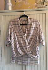 MISS SELFRIDGE shirt Blouse Top Size 10 pink Cream CHECKED smart CHIC