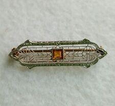 Vintage Krementz 14k Yellow Rose Gold Filigree Bar Pin Citrine Stone