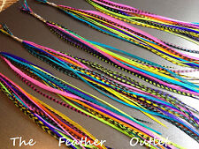 Lot 20 Grizzly Solid Feathers Hair Extensions  Colors Bright Real NEON RAINBOW