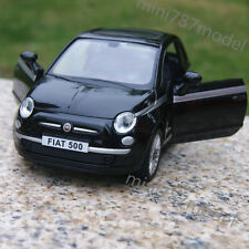 """FIAT 500 Alloy Diecast Car Model 5"""" Sound & Light Toys Collection & Gifts black"""