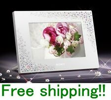 SONY Digital Photo Frame Crystal & White DPF-D720/WI Swarovski Elements Design!!