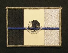 FLAG OF MEXICO MEXICAN POLICE LEO THIN BLUE LINE TACTICAL IRON ON MORALE PATCH