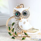 New Owl Branch Lovely Charm Pendant White Rhinestone Crystal Key Chain Creative