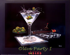 "Michael Godard-""OLIVE PARTY 1"" Martini-Olives-Cigar-Las Vegas-Party-Poster"