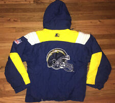 SAN DIEGO CHARGERS Vtg 90s Hoodie Hood STARTER Sewn jacket jersey coat PRO LINE
