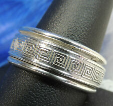 MEN'S Greek Key Spinner STERLING SILVER .925 Estate Band RING size 11 Thumb Ring
