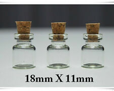 Wholesale Lot of 100 Clear Cork Glass Bottles Vials 11x18mm approx 0.5 ml USA