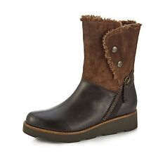 Brand New in Box Clarks Okemo Sienna Brown Leather and Suede Boots, Size 5.5 D