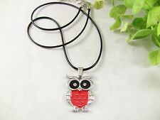 "Women's Pendant Necklace Owl Shaped Red Black Enamel Rhinestones 19.5"" Long"