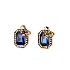 Boucles d`Oreilles Clips Pinces Doré Noeud Papillon Bleu Rectangle Vintage J6