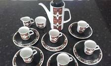 J & G Meakin Studio full Maori coffee pot set with side plates, cups, saucers