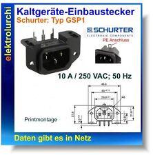 Kaltgeräte-Einbaustecker C14, 10A / 250 VAC; 50 Hz, Schurter Typ:GSP1, 1St.