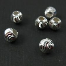 925 Sterling Silver Findings- Swirled Textured Round Beads-Spacers-6mm(5 pcs)