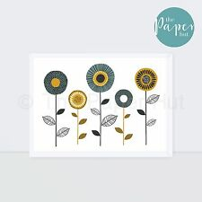 Art Print Turquoise Mustard Grey A3 | Floral Stem Contemporary