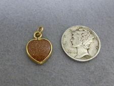 Vintage 14K Yellow Gold Goldstone Heart Charm