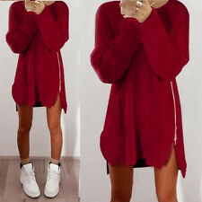 Womens Zip Up Long Sleeve Pullover Jumper Loose Sweater Casual Short Mini Dress