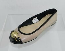 Women's Hunter Beige/Black Leather Flats Size 6 M