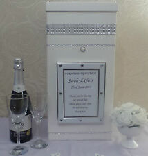 Wedding Card Post Box Personalised, Bling Diamante Trim & Heart Trim Photo Frame