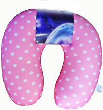 Microbead Baby Pink Dot Neck Pillow Travel Cushion Head Lower Back Outdoor