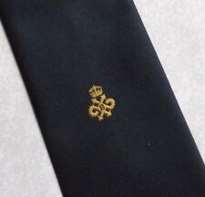 QUEEN'S AWARD LOGO TIE VINTAGE RETRO 1970s 1980s NAVY GOLD CLUB ASSOCIATION