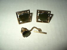 Vintage SARAH COVENTRY Men's Goldtone & Olive Green Thermoset Cufflinks/Tie Pin