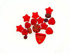 Vintage Czech MIxed Style & Shape Red Art Glass Bead Lot Heart Stars Shields ++