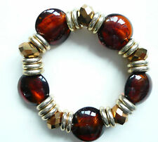 ACCESSORIZE BRACELET_LARGE FOILED GLASS DEEP AMBER GLASS BEADS & FACETED BEADS