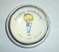Vintage JOAN WALSH ANGLUND Glass PAPERWEIGHT Happy Birthday Message Nice!