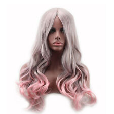 Gray With Pink Curly Wave Hair Full Long Wigs Cosplay Lolita Weave Cap Wig Lace