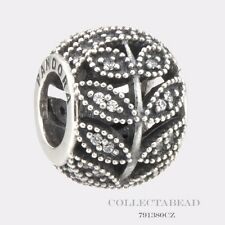 Authentic Pandora Sterling Silver Sparkling Leaves CZ Bead 791380CZ