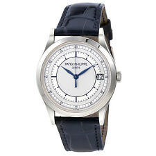 Patek Philippe Calatrava Automatic Silver Dial 18kt White Gold Mens Watch