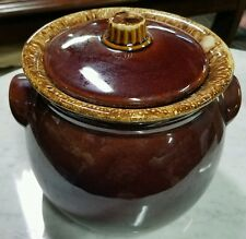 Hull Brown Drip Glaze Bean Pot & Lid Ovenproof Ferments Crock 2 QT VTG 1960-85
