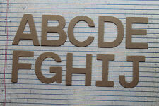 "2"" chipboard Block uppercase unfinished/raw alphabet diecuts 26 letters total"